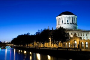 River Liffey and Four Courts building in Dublin, Ireland